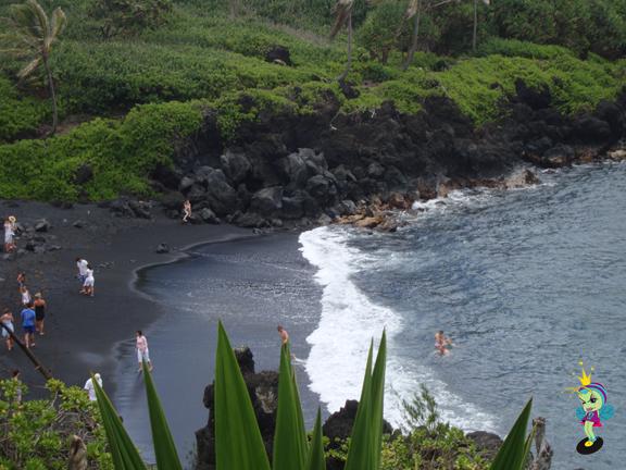 Wouldn't you agree? Black sand beach at Wainapanapa