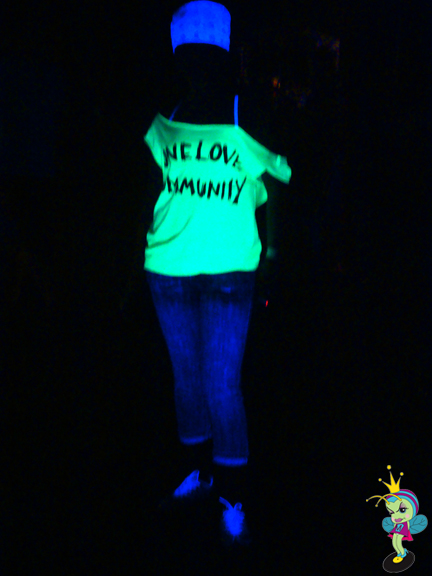 They had blacklights everywhere and luckily we had neon clothes!