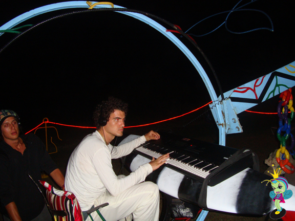 This guy played synth noises on a keyboard mounted to a surfboard
