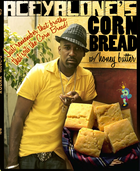 Sweet cornbread with real corn kernels saturated in a honey butter glaze