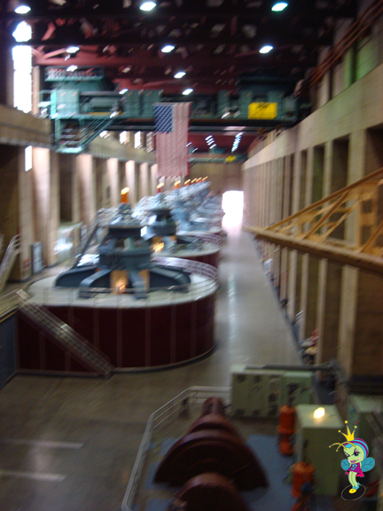 the turbine room creates electricity! (sorry for the blurry pic)