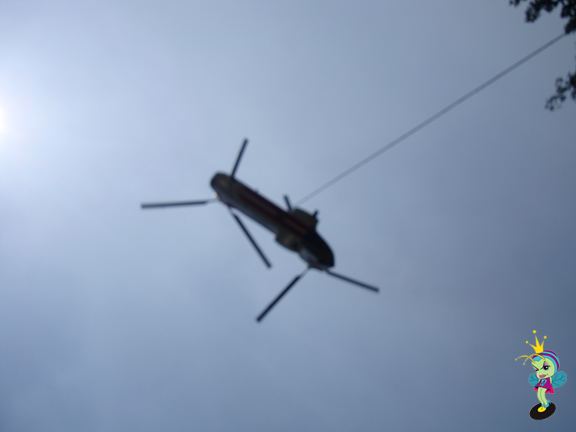 this helicopter scooped up water from the river RIGHT NEXT to our car