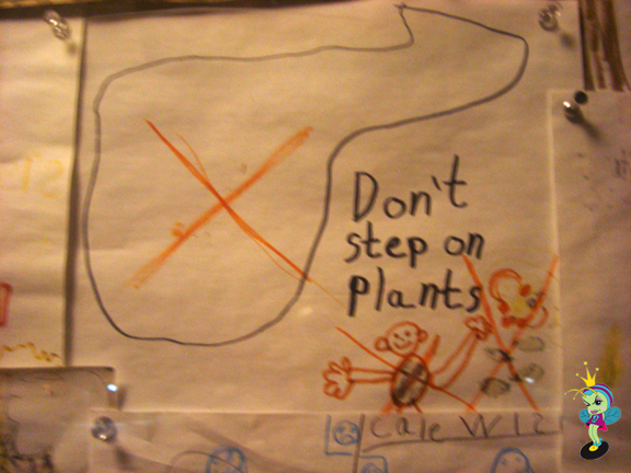 """The visitor center had some children's wisdom: """"Don't step on plants"""""""