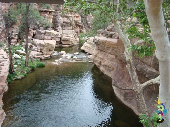 slide rock from the other side of the bridge