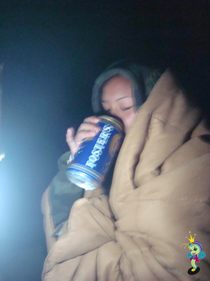 even though it was cold as shit, we shared a Fosters... and it was delicious!