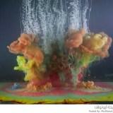 خلط الألوان والماء