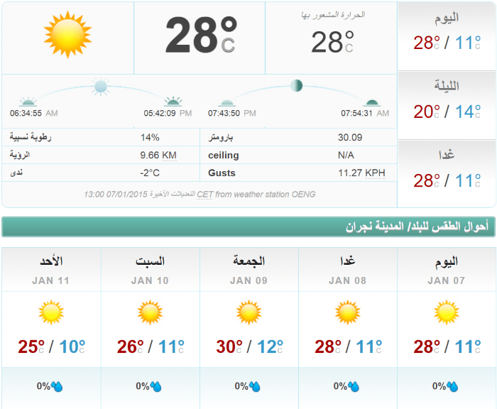الطقس نجران