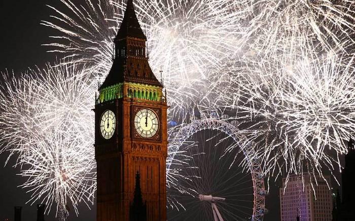 لندن رأس السنة 2015 ألعاب نارية العام الجديد