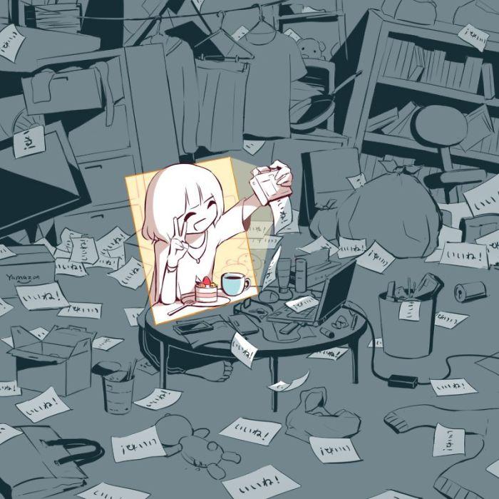 فنان ياباني يصنع رسومات توضيحية لواقعنا الحزين