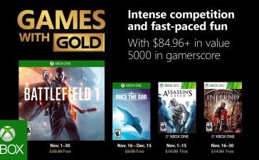 ألعاب إكس بوكس لايف جولد المجانية لشهر نوفمبر 2018
