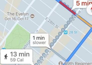 جوجل تزيل عداد الكالوري من تطبيق خرائط جوجل لنظام IOS