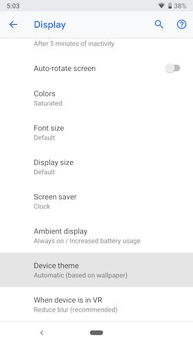 Android P Dark Mode Display Settings