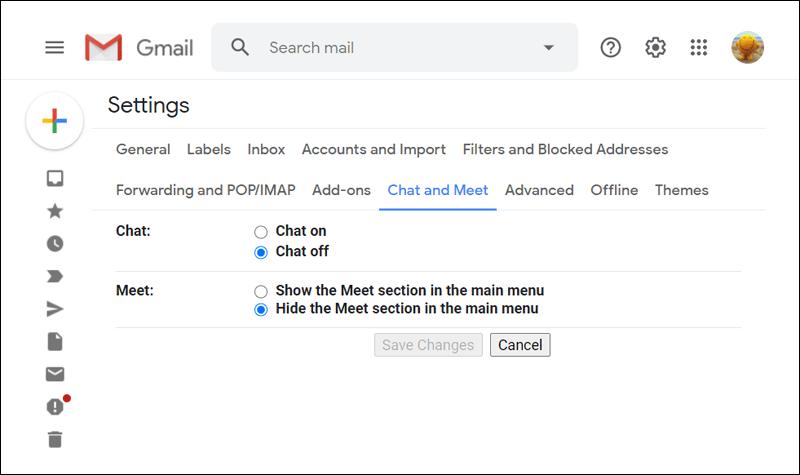 إزالة Google Meet في تطبيق جيميل