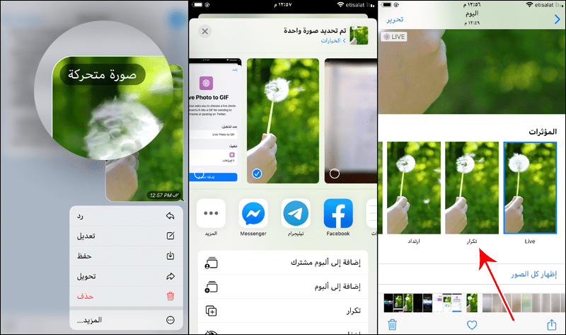 تحويل Live Photos إلى صور GIF