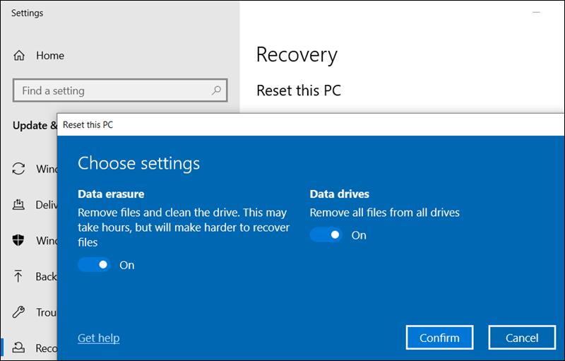 إعادة تعيين هذا الكمبيوتر