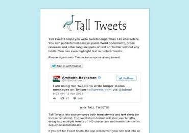 غرد الآن على تويتر دون قيود بالأحرف مع موقع talltweets