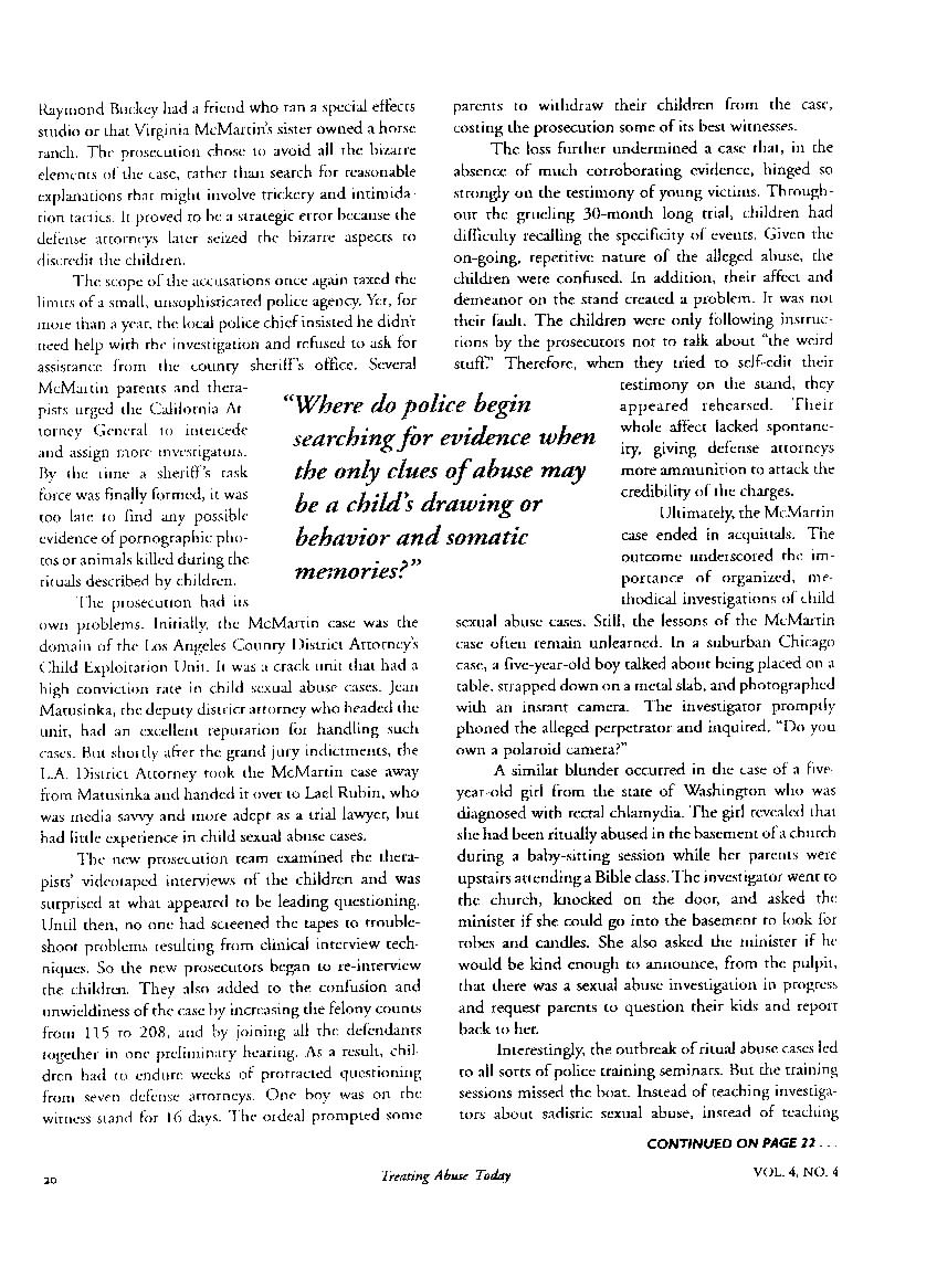 Investigative Issues in Ritual Abuse Cases, Part 1 and 2(1994)