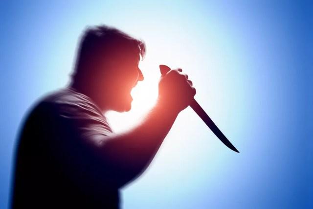 Un, hombre, tenencia, un, cuchillo