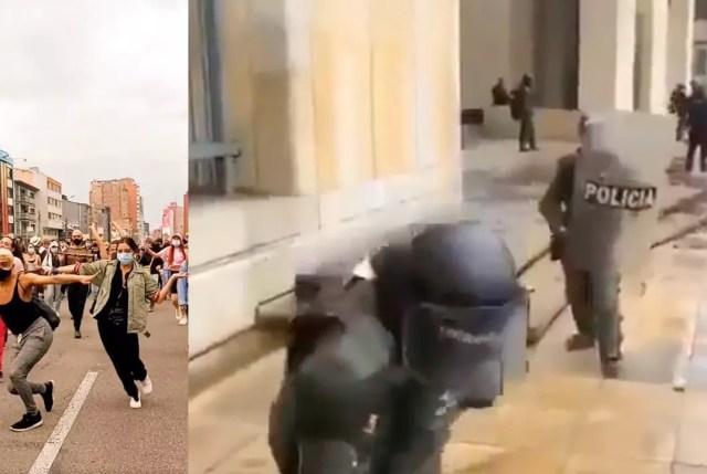 Un video editado en línea muestra a mujeres transgénero en boga por las calles de Bogotá antes de ser recibidas por la policía.