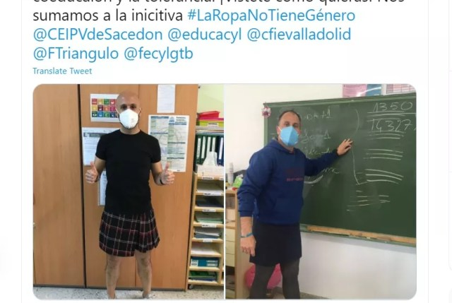Los maestros usaron faldas en mayo en apoyo de un estudiante enviado a un psicólogo por usar uno