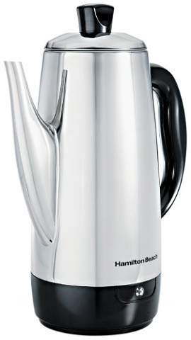 1. Hamilton Beach Stainless-Steel 12-Cup Electric Percolator