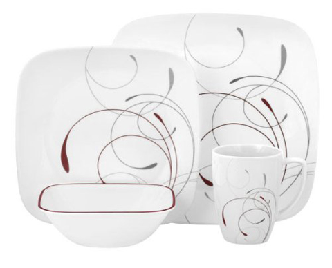 8. Corelle Square 16-Piece Dinnerware Set