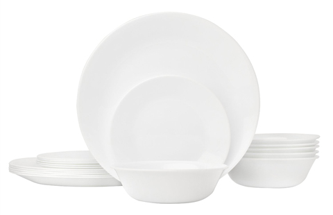 6. Corelle Coordinates 18-Piece Glass Dinnerware Set