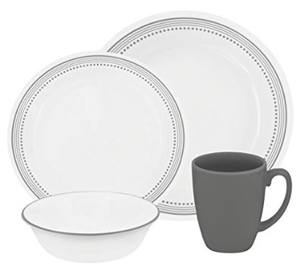 4. Corelle Livingware 16-Piece Dinnerware Set- gray