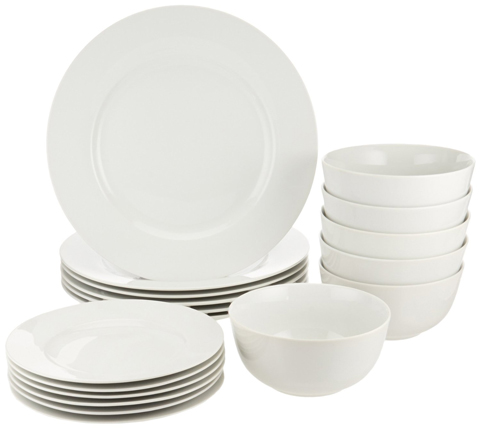 2. AmazonBasics 18-Piece Dinnerware Set