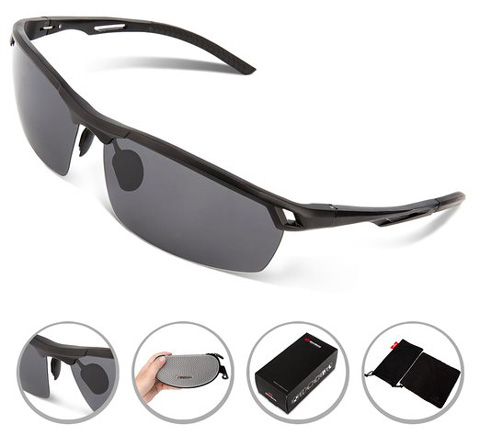 2. The RIVBOS® Polarized Sports Sunglasses Driving Glasses Metal Frame with Mirror Lens Pouch Cloth Case