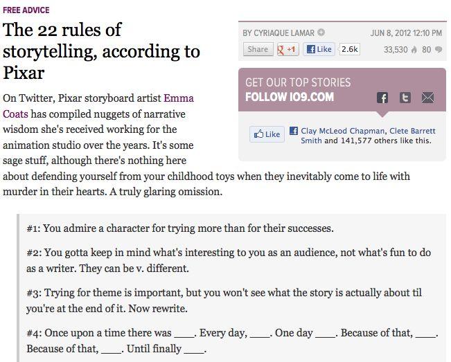 Storytelling accoring to Pixar