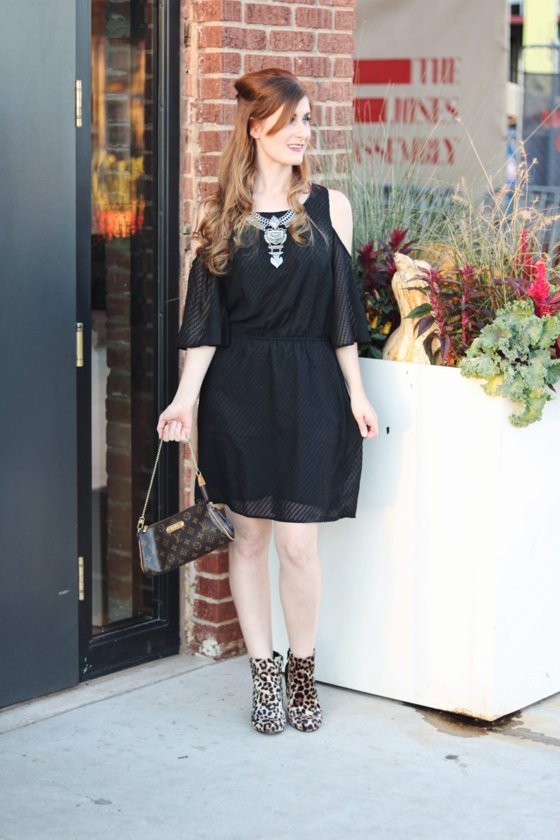 LBD Date Night   How to wear a little black dress   little black dress  lbd 2017   lbd casual  lbd leopard shoes   statement necklace and lbd   lbd leather jacket outfit