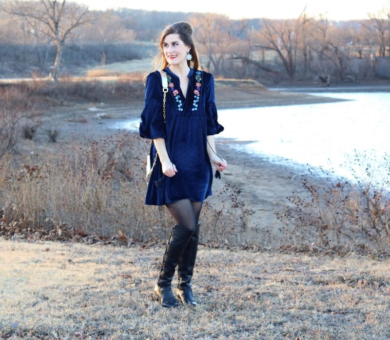 Tassel Tie Neck Drop Shoulder Flower Embroidery Velvet Dress | Shein Dress | Velvet dress | velvet embroidery | New Year resolutions | mixing black and navy | navy dress and black tights