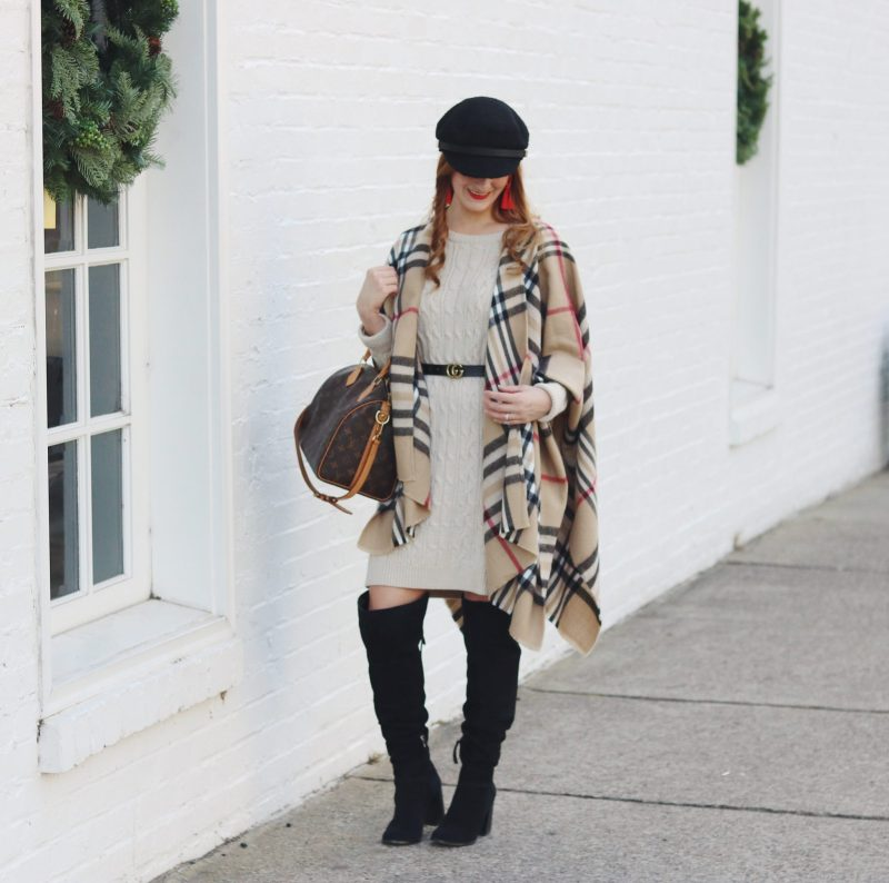 how to style a cape   how to wear a cat   2017 winter outfit   plaid cape