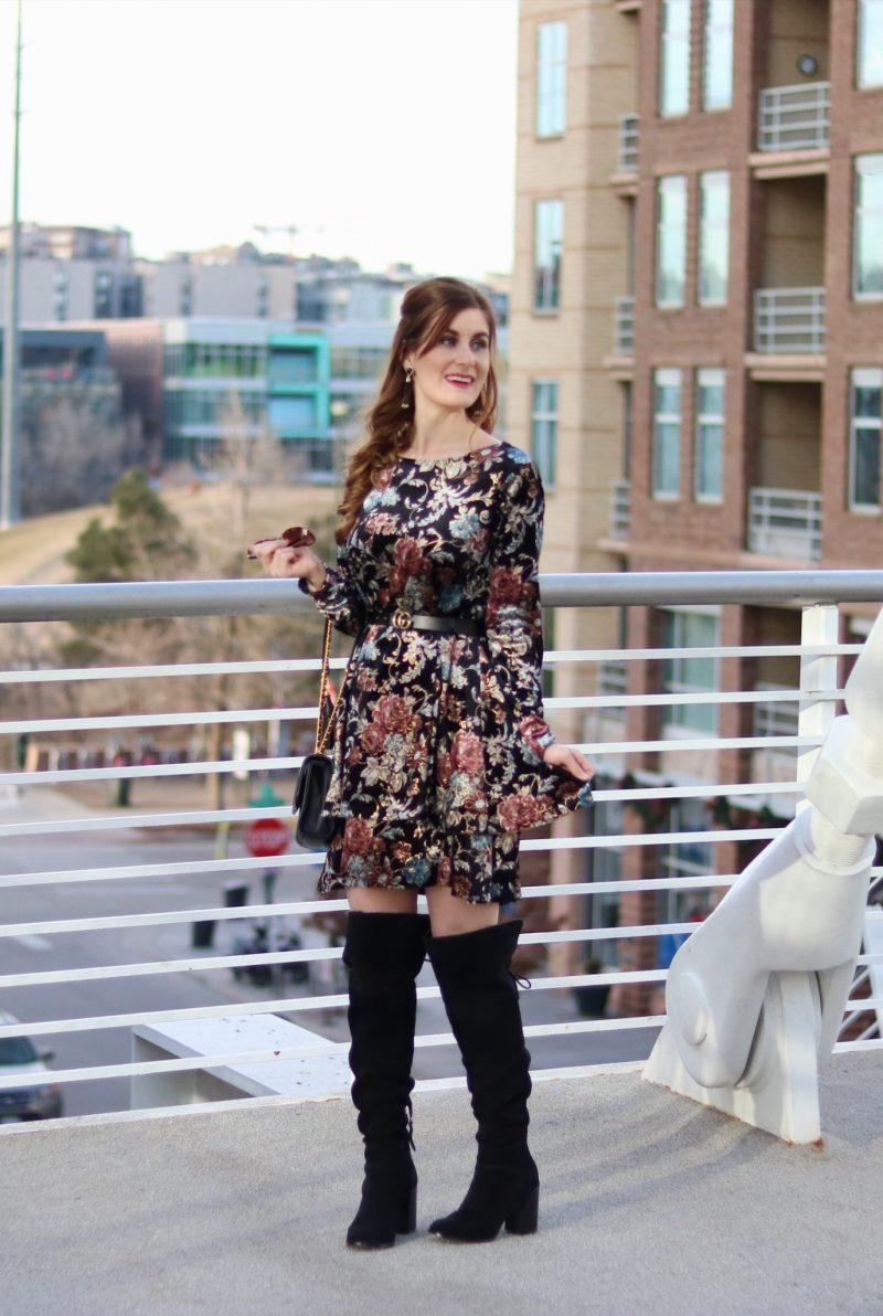Flower Print Swing Velvet Dress   Shein Flower Print Swing Velvet Dress  Velvet Dress   Floral for winter   what to wear on date night in denver   denver date night ideas   denver   date night outfit