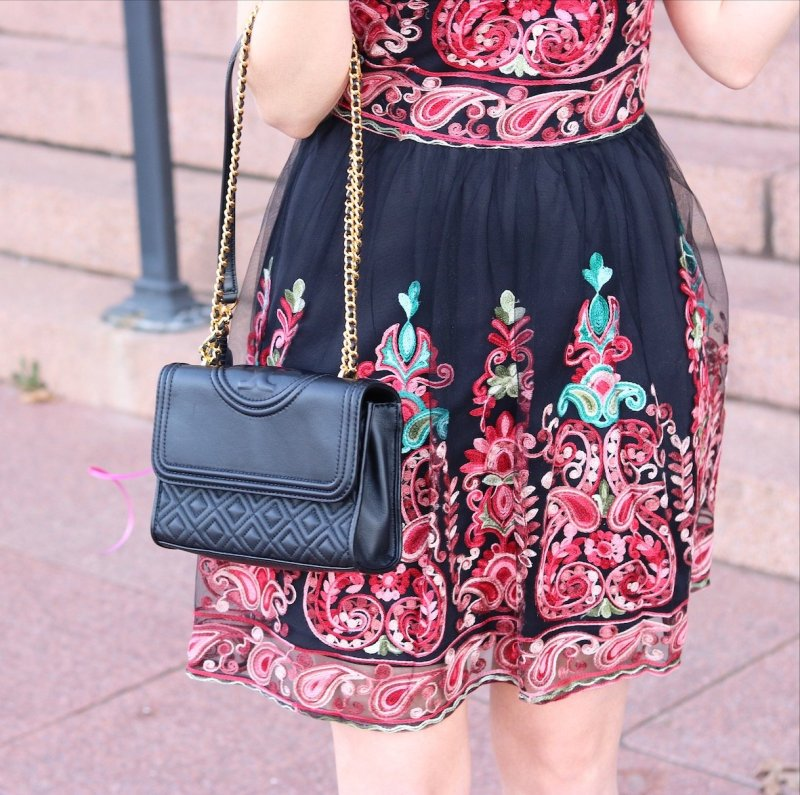 SHEIN Embroidered Mesh Overlay Skater Dress