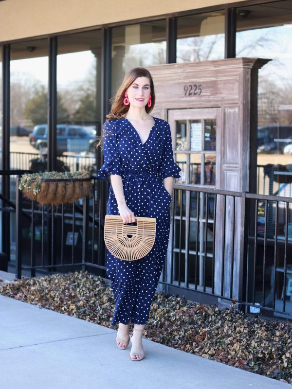 Tiered Trumpet Sleeve Surplice Wrap Jumpsuit | Shein Tiered Trumpet Sleeve Surplice Wrap Jumpsuit | spring trends | spring trends 2018 | spring trends casual | polka dot outfit | polka dot jumpsuit