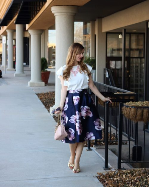 Flower Print Box Pleated Skirt | What to wear for easter | easter outfits for women | easter outfits casual | easter outfits for women church | Shein Flower Print Box Pleated Skirt