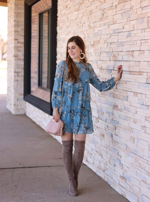 Frill Detail Bishop Sleeve Tiered Botanical Dress | Romwe | SheIn | floral dress | transitional dresses | Spring dress | spring dresses casual | spring over the knee boots outfit