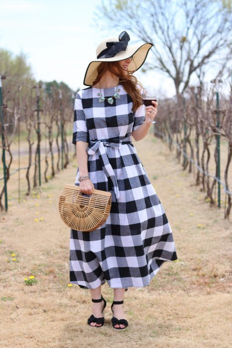 SheinButtoned Keyhole Self Tie Checkered Dress | Gingham dress | gingham dress outfit| winery outfit spring| winery outfit spring wine tasting | wine tasting outfit | gingham dress blue necklace | OKC Winery | Clauren Ridge Winery