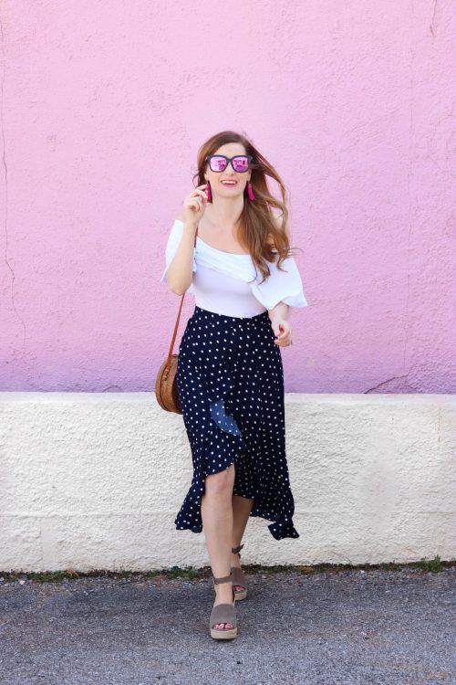 Lucy Paris Polka Dot Ruffle Skirt | Dillards | Polka Dot Skirt | navy polka dot skirt | navy polka dot skirt outfit | spring outfit casual | spring outfit casual women