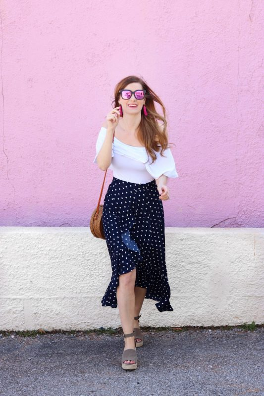 Lucy Paris Polka Dot Ruffle Skirt | Dillards | Polka Dot Skirt | navy polka dot skirt | navy polka dot skirt outfit | spring outfit casual | spring outfit casual women