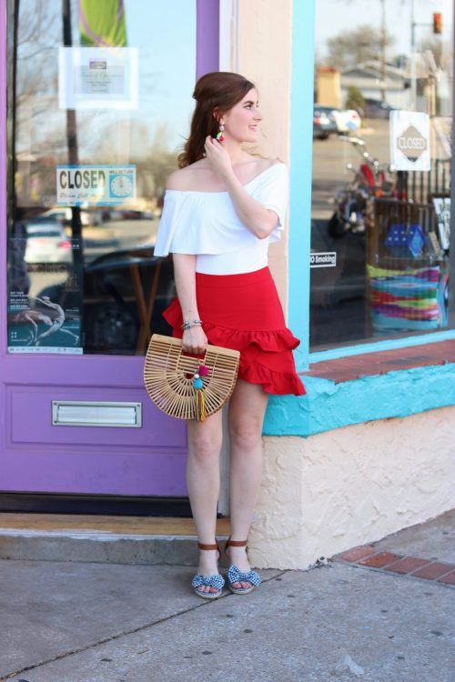 Asymmetric Layered Ruffle Skirt | SheIn Asymmetric Layered Ruffle Skirt| Miuco Womens Bamboo Handbag Handmade Large Tote Bag Size Small | Oklahoma city | Oklahoma city things to do | oklahoma city bucket lists | Oklahoma City attractions | Gingham shoes | casual summer outfit