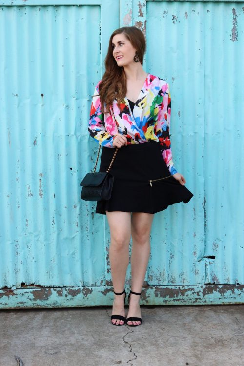 Transitioning Florals Into Fall | Abstract Florals Surplice Blouse Bodysuit | SHEIN Abstract Florals Surplice Blouse Bodysuit | floral fall outfit | floral fall outfit casual | floral with leather jacket | floral fall dress| transitioning into fall | transitioning into fall outfits | transitional fall outfit | how to transition into fall