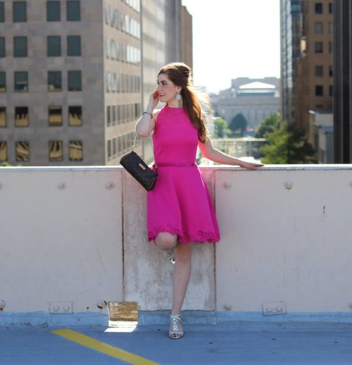 How To Wear Bright Colors Year Round | Ted Baker Zaffron Skater Dress | how to wear bright colors in the fall and winter | hot pink | hot pink dress | hot pink dress party | hot pink dress formal