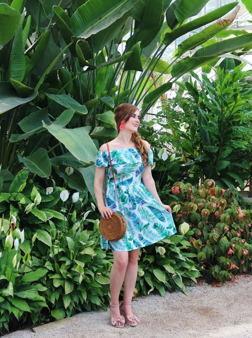 Birmingham Botanical Gardens | palm leaf dress outfit | Birmingham, Alabama | what to do in Birmingham, Al | Birmingham, al botanical gardens | summer outfit ideas | summer date ideas | Birmingham, Alabama date ideas