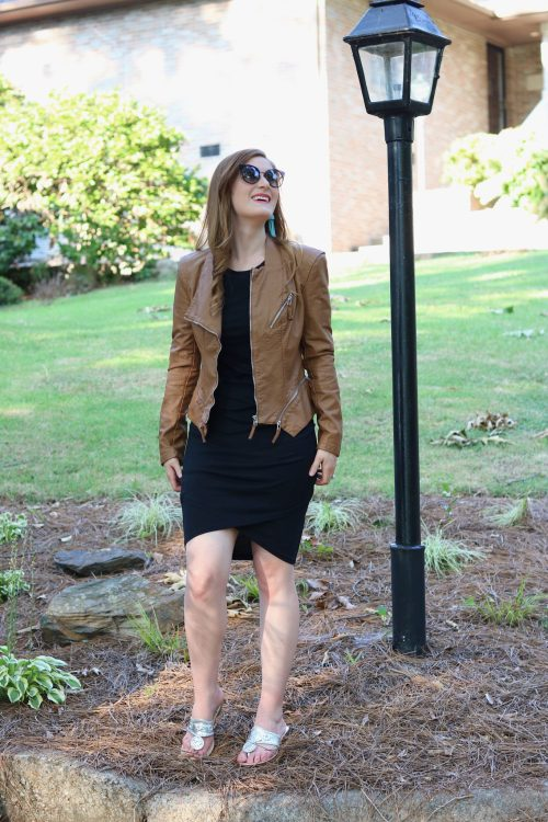 Leith Ruched Body-Con Tank Dress | fall hot weather outfits | early fall outfit casual | early fall outfit | transitional outfits fall | black Leith Ruched Body-Con Tank Dress | black dress brown jacket | aqua Lisi lerch tassels | black dress circle straw bag