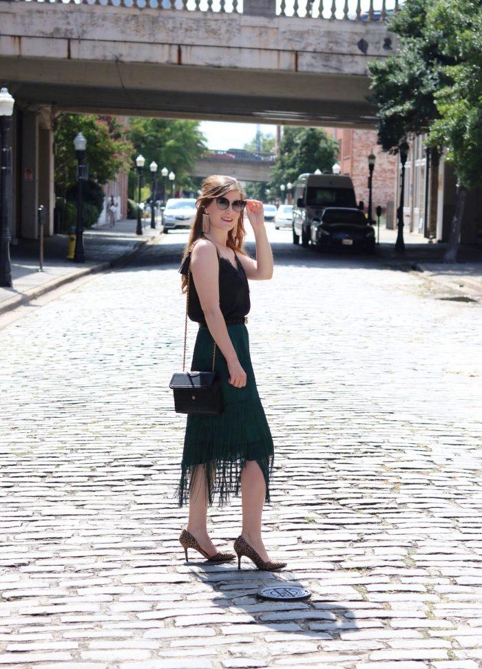 TIERED FRINGE SKIRT | Shein TIERED FRINGE SKIRT | emerald green skirt outfit | emerald green skirt outfit fall | emerald green skirt with black | fringe skirt outfit | fringe skirt | fringe fashion