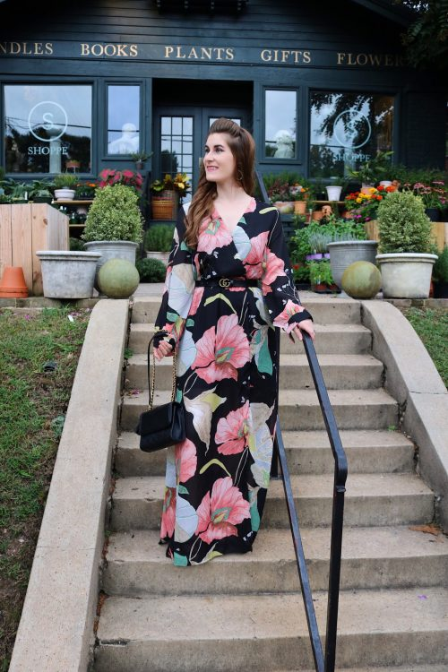 My Fall Bucket List | Floral Print Plunge Surplice Split Full Length Dress | Shein Floral Print Plunge Surplice Split Full Length Dress | shoppe Birmingham | fall floral dress | fall bucket list  | fall bucket list for couples | fall outfits 2018 | fall activities | fall activities for couples