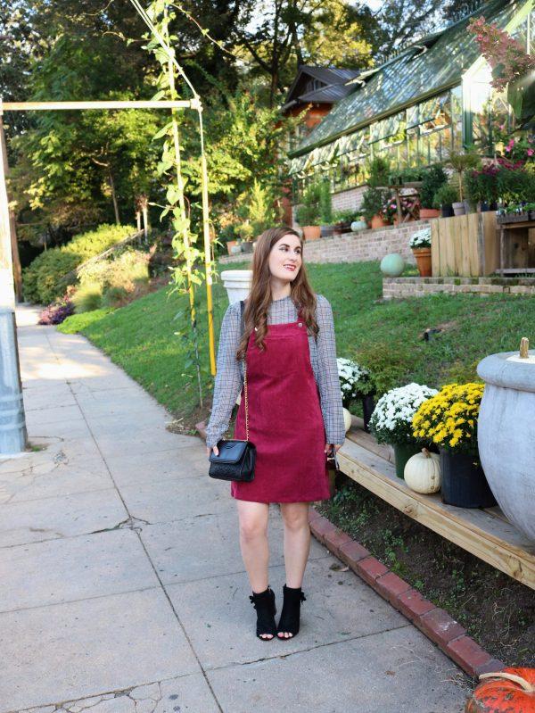 Bib Pocket Front Overall Dress | Shein Bib Pocket Front Overall Dress | Overall dress| how to style an overall dress | overall dress and plaid | overall dress outfit | overall dress outfit fall | overall dress outfit corduroy